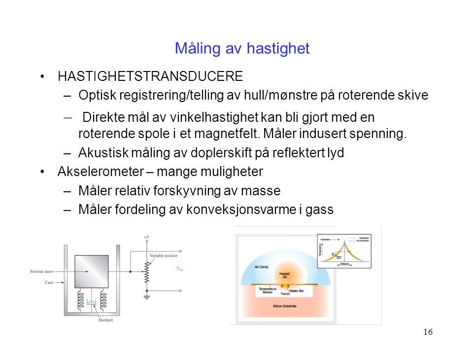 Måling av hastighet HASTIGHETSTRANSDUCERE. Optisk registrering/telling av hull/mønstre på roterende skive.