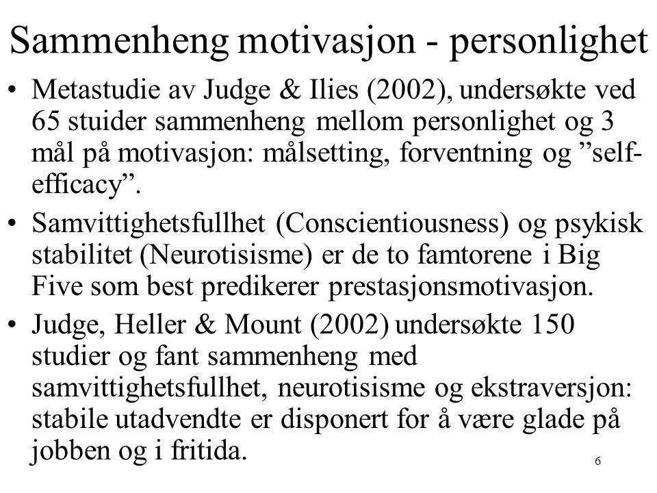 Sammenheng motivasjon - personlighet