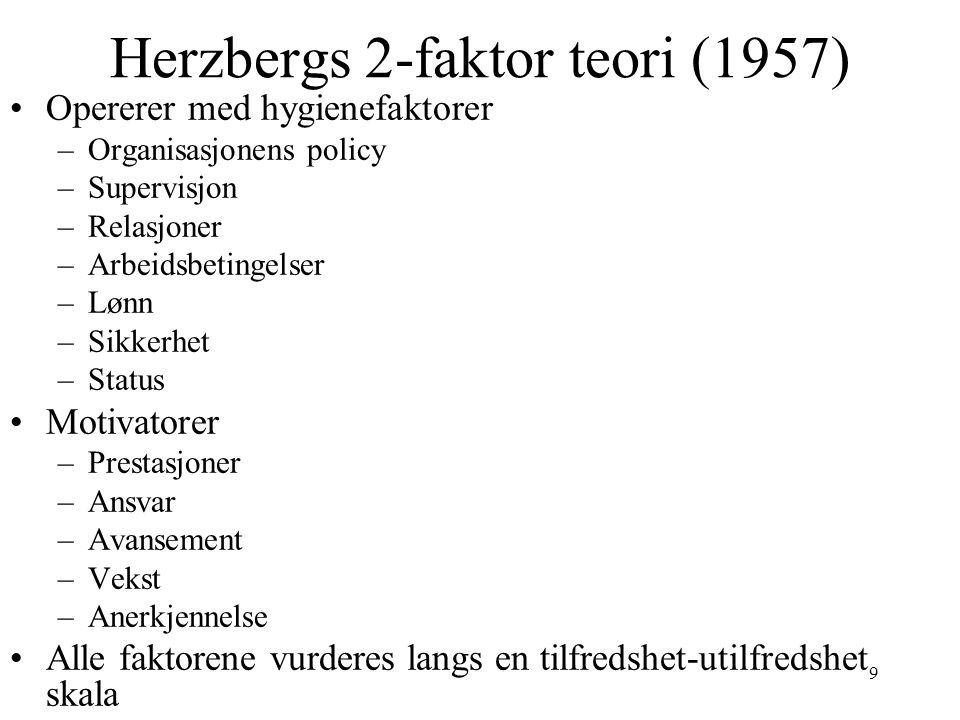 Herzbergs 2-faktor teori (1957)