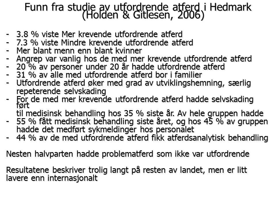 Funn fra studie av utfordrende atferd i Hedmark (Holden & Gitlesen, 2006)