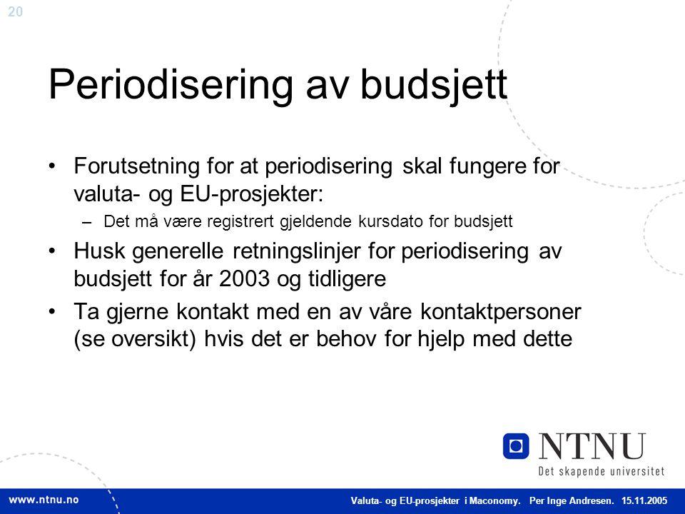 Periodisering av budsjett