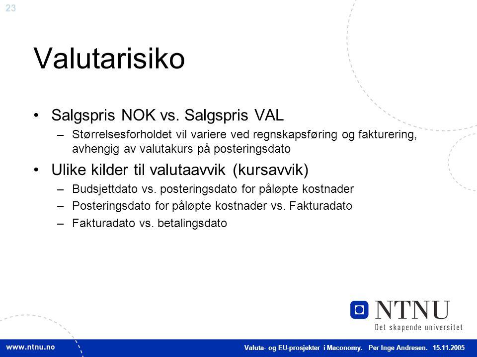 Valutarisiko Salgspris NOK vs. Salgspris VAL