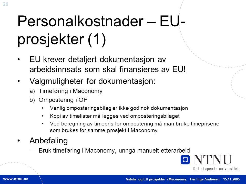 Personalkostnader – EU-prosjekter (1)
