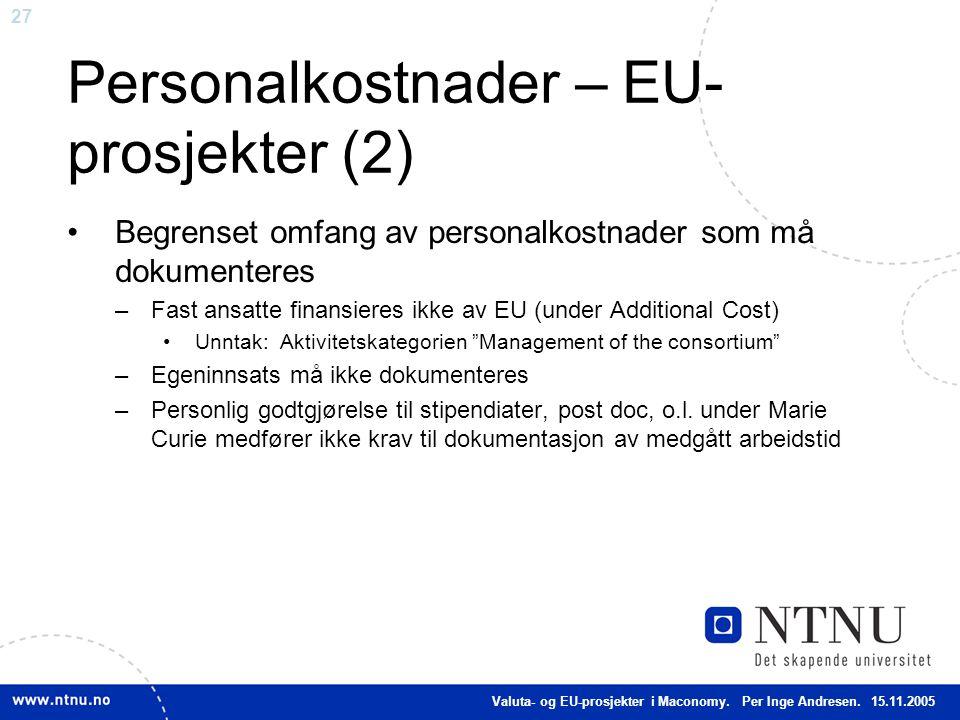 Personalkostnader – EU-prosjekter (2)