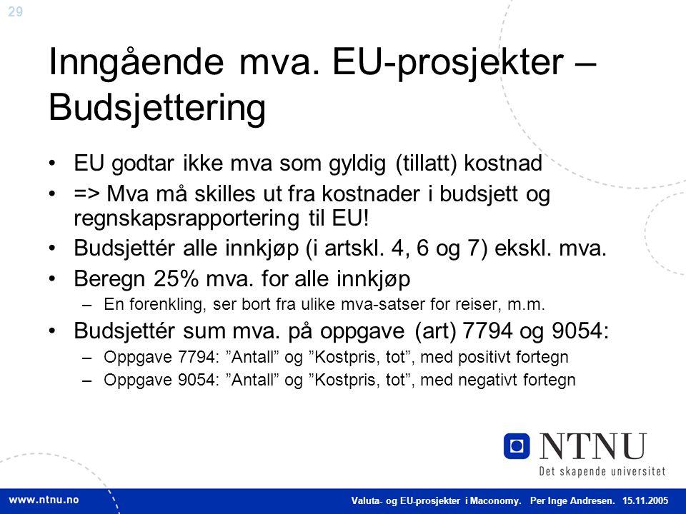 Inngående mva. EU-prosjekter – Budsjettering