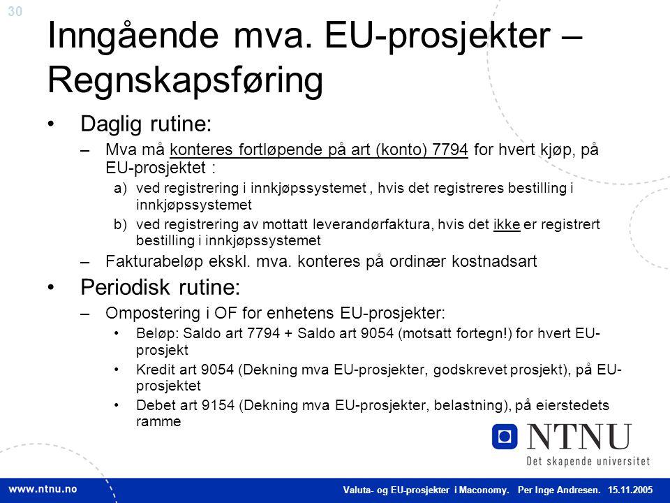 Inngående mva. EU-prosjekter – Regnskapsføring