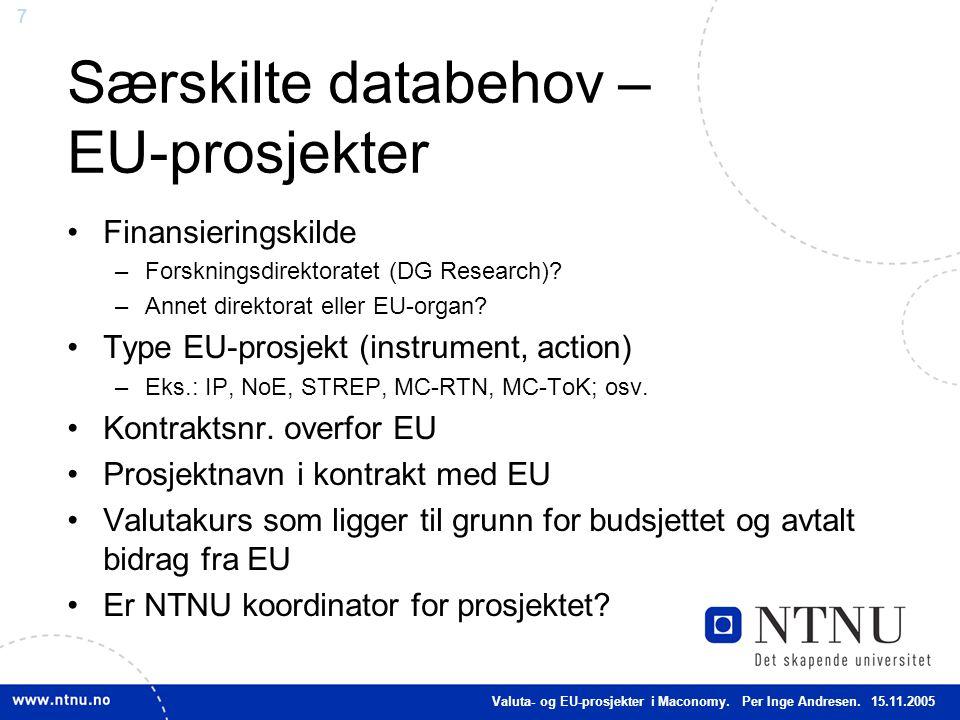 Særskilte databehov – EU-prosjekter