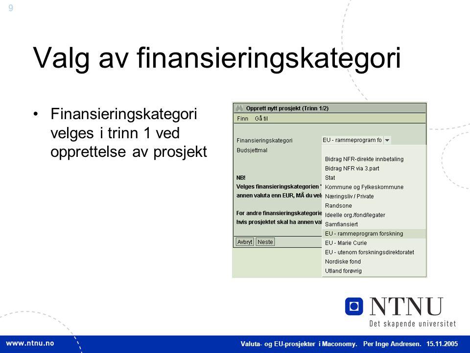 Valg av finansieringskategori