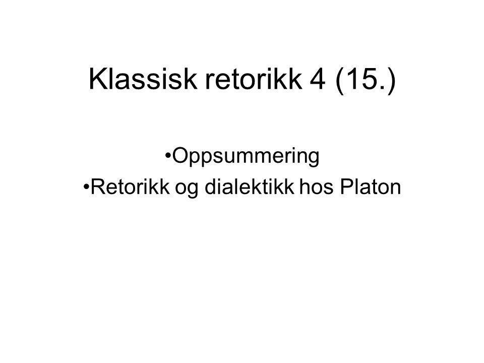 Oppsummering Retorikk og dialektikk hos Platon