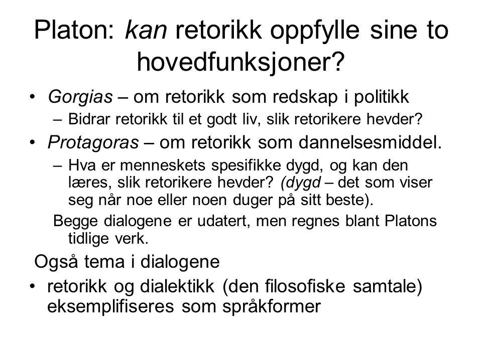 Platon: kan retorikk oppfylle sine to hovedfunksjoner
