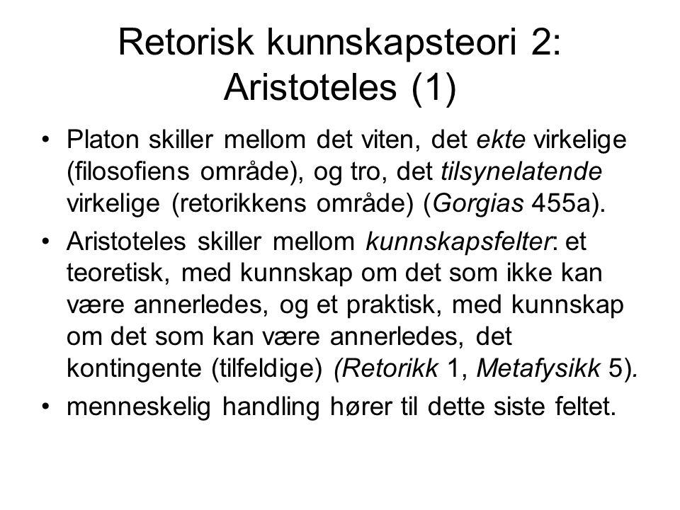 Retorisk kunnskapsteori 2: Aristoteles (1)