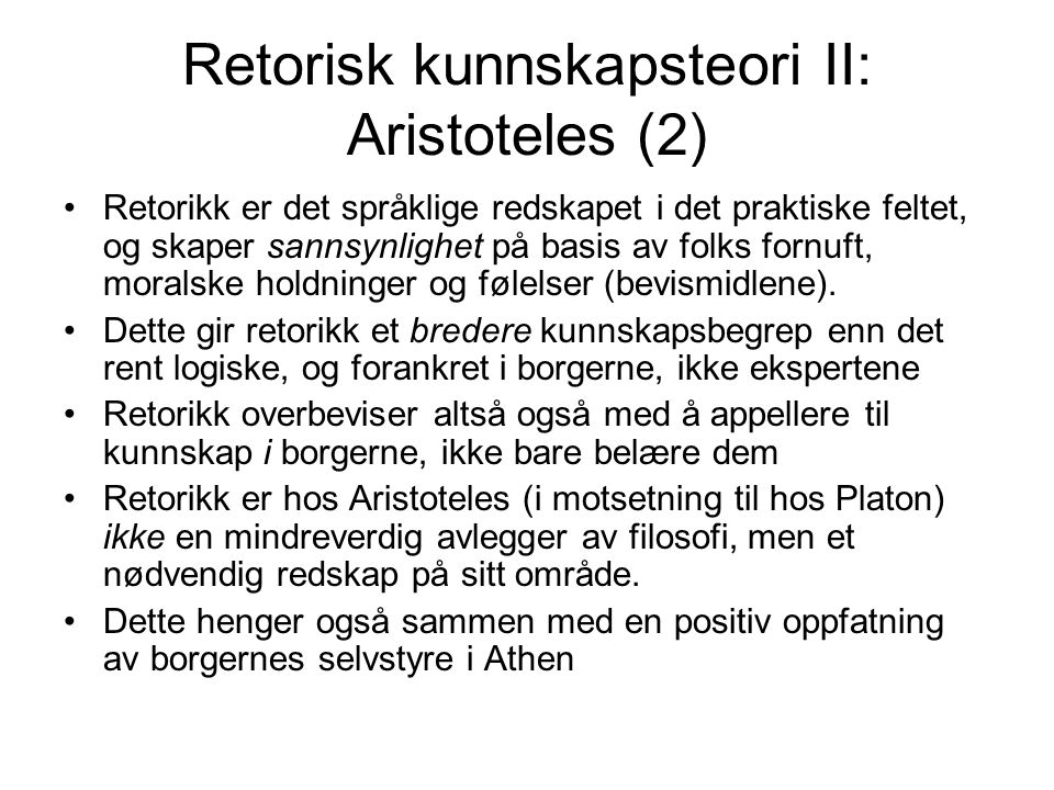 Retorisk kunnskapsteori II: Aristoteles (2)