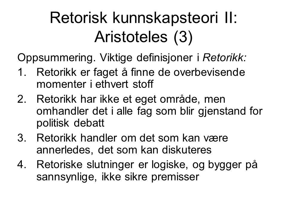 Retorisk kunnskapsteori II: Aristoteles (3)