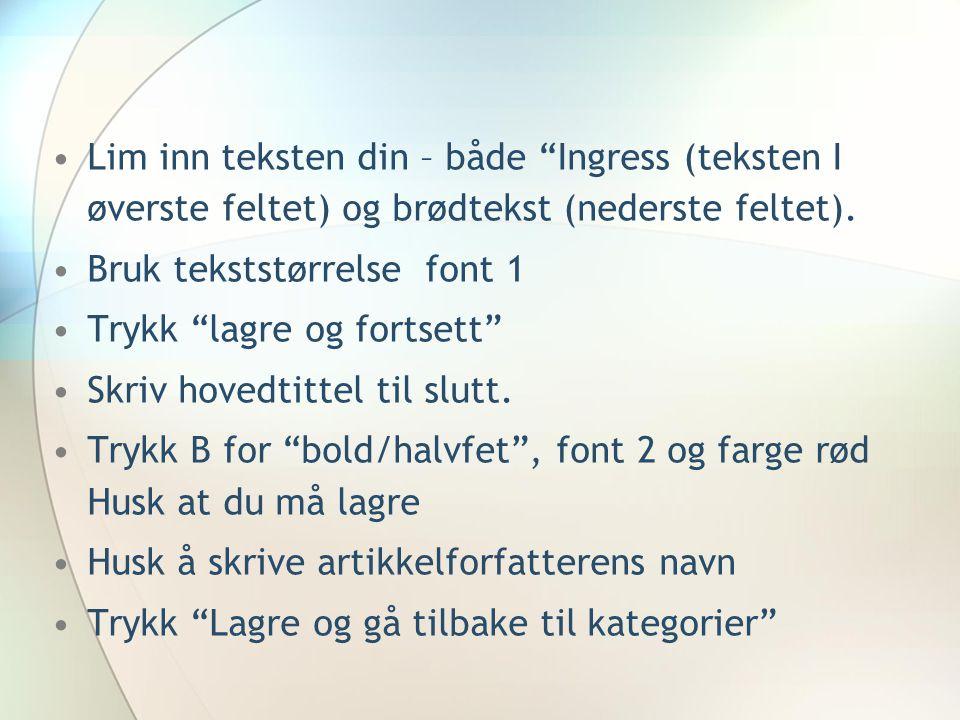 Lim inn teksten din – både Ingress (teksten I øverste feltet) og brødtekst (nederste feltet).