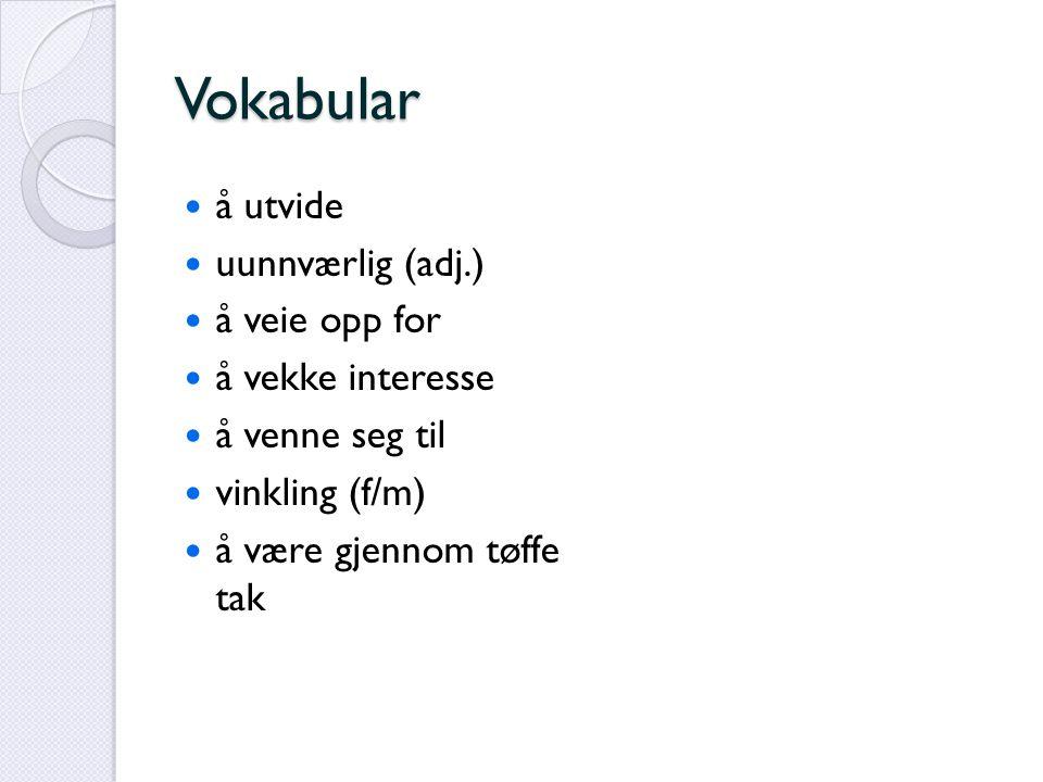 Vokabular å utvide uunnværlig (adj.) å veie opp for å vekke interesse