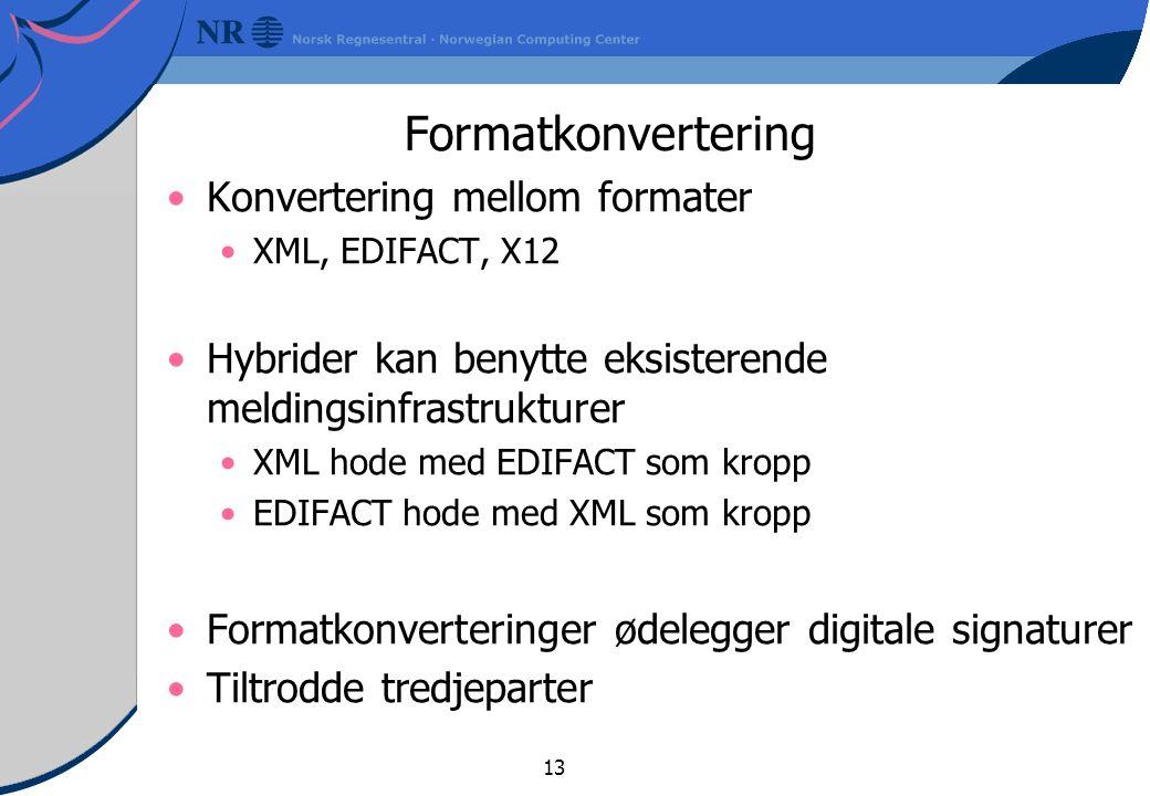 Formatkonvertering Konvertering mellom formater