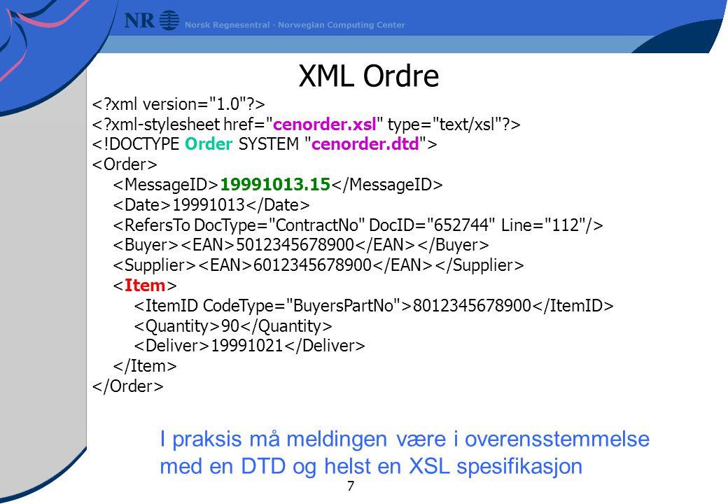 XML Ordre I praksis må meldingen være i overensstemmelse