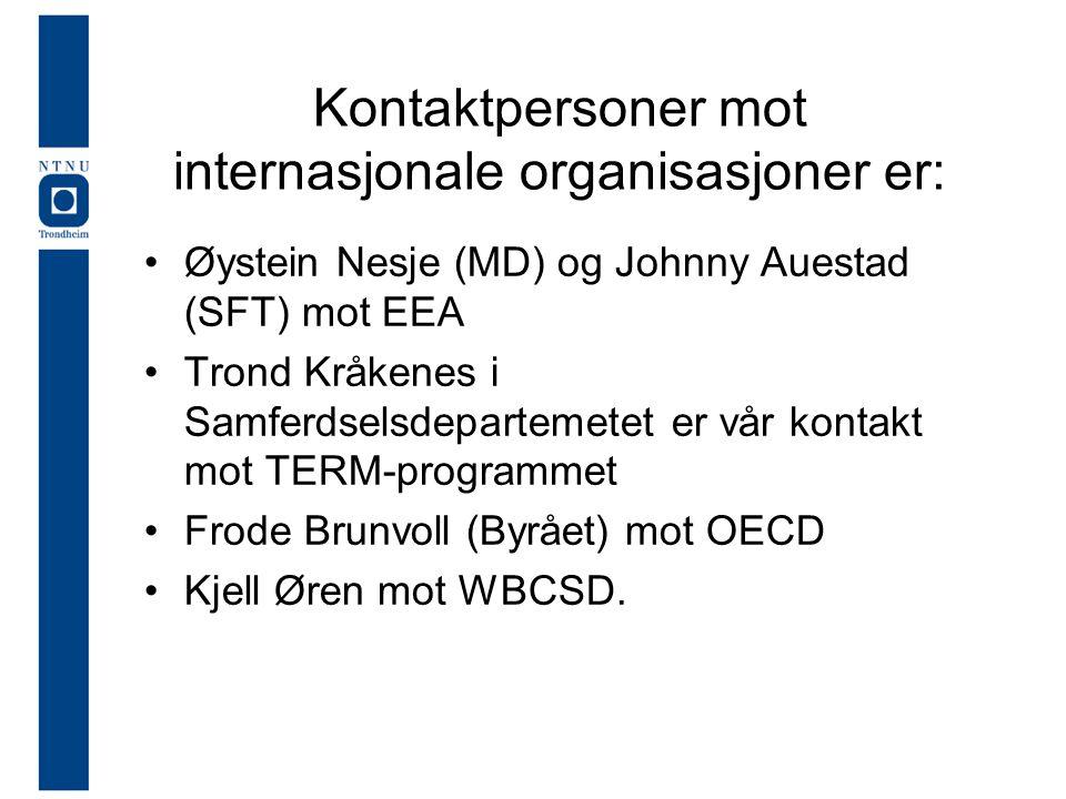 Kontaktpersoner mot internasjonale organisasjoner er: