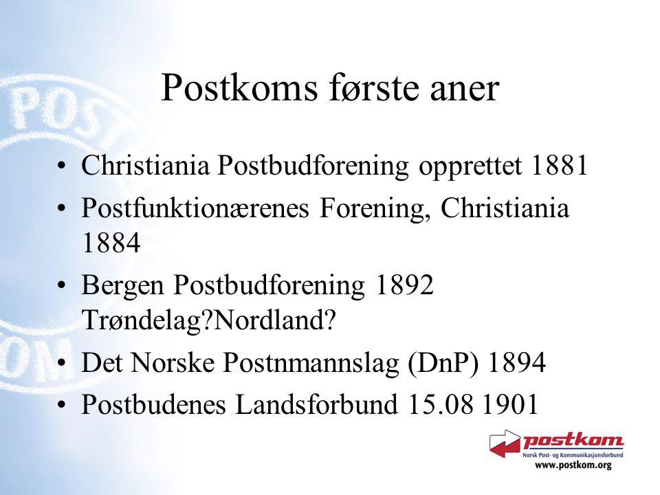 Postkoms første aner Christiania Postbudforening opprettet 1881