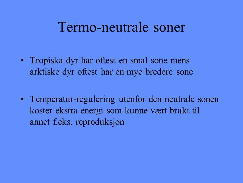 Termo-neutrale soner Tropiska dyr har oftest en smal sone mens arktiske dyr oftest har en mye bredere sone.