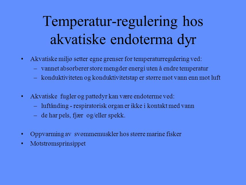 Temperatur-regulering hos akvatiske endoterma dyr