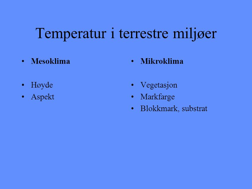 Temperatur i terrestre miljøer