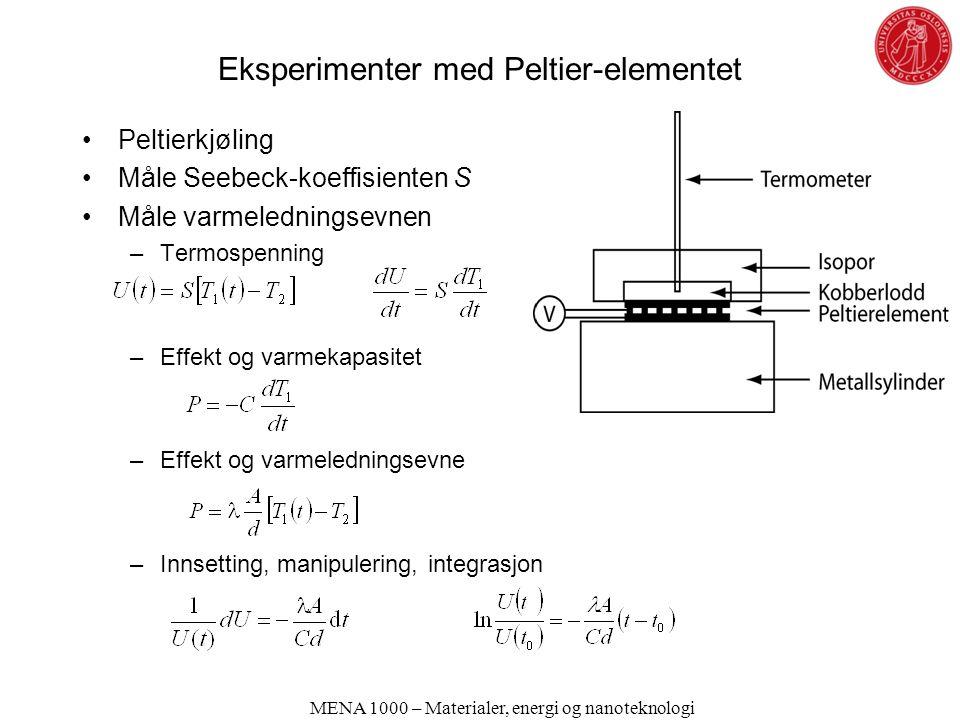 Eksperimenter med Peltier-elementet