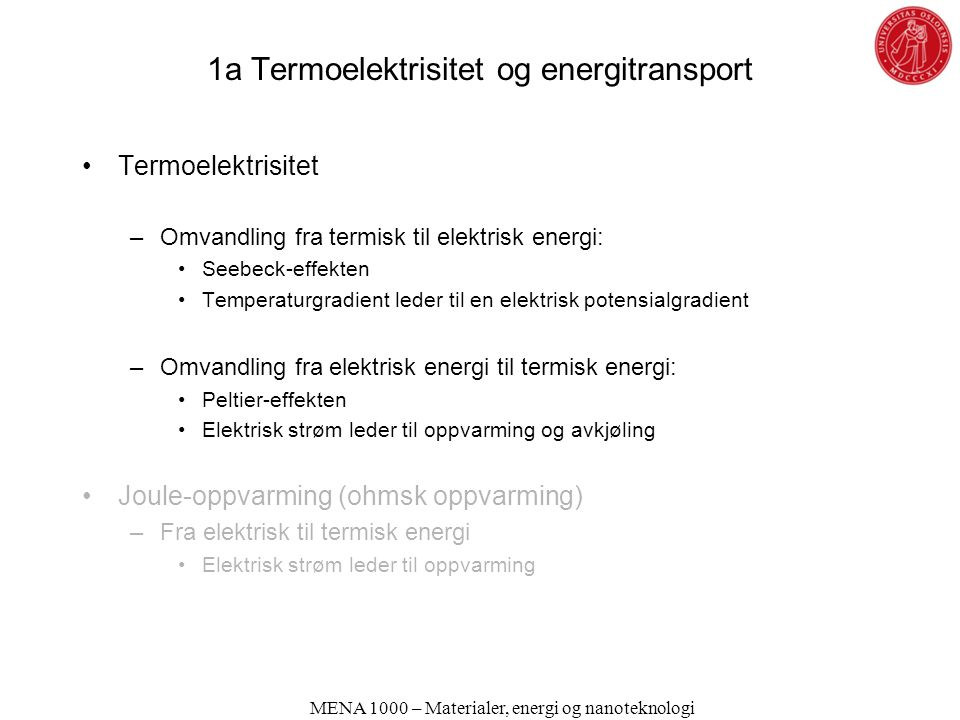 1a Termoelektrisitet og energitransport