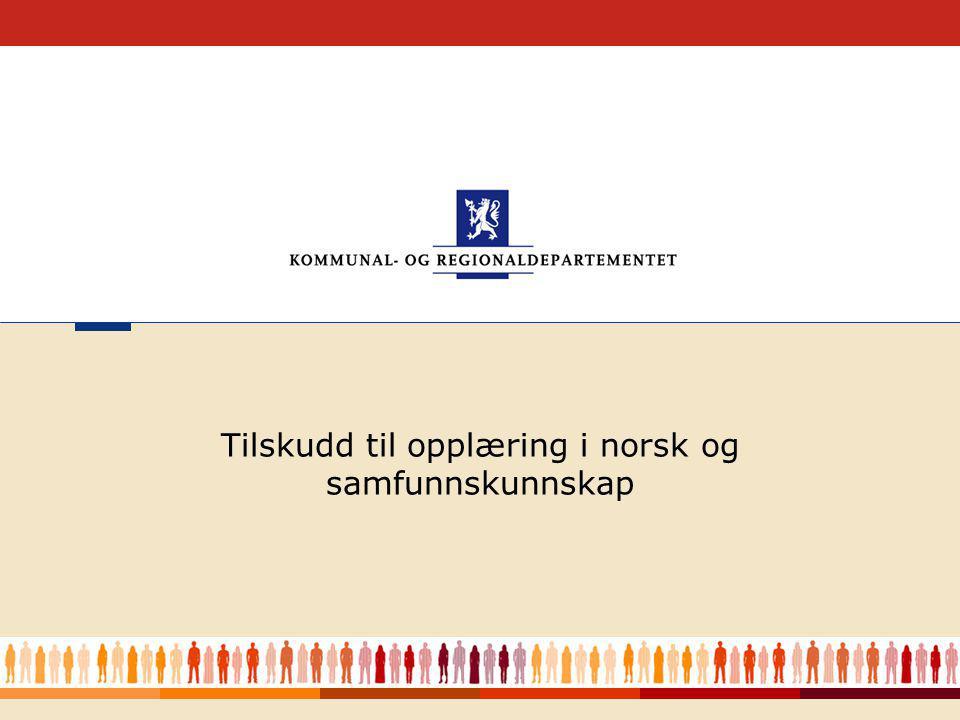 Tilskudd til opplæring i norsk og samfunnskunnskap