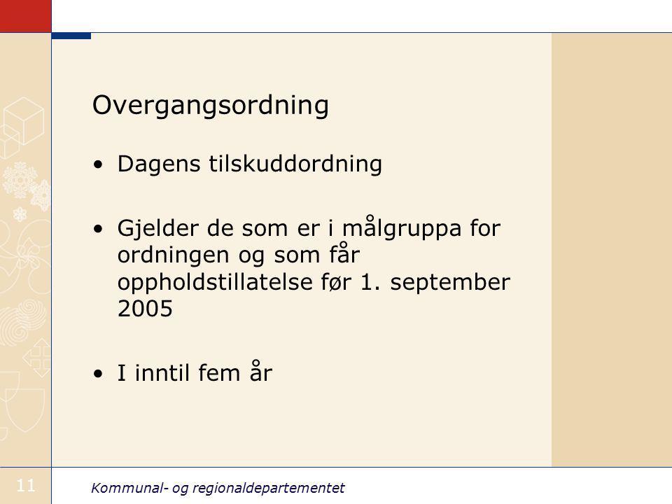 Overgangsordning Dagens tilskuddordning