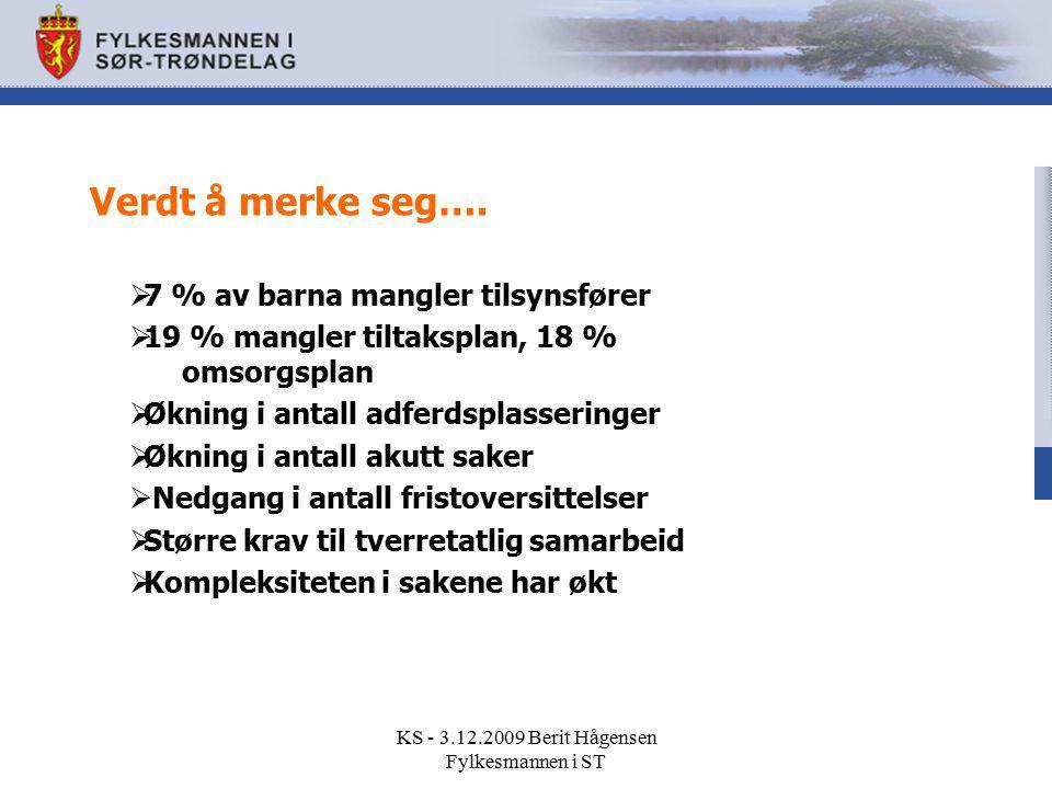 KS - 3.12.2009 Berit Hågensen Fylkesmannen i ST