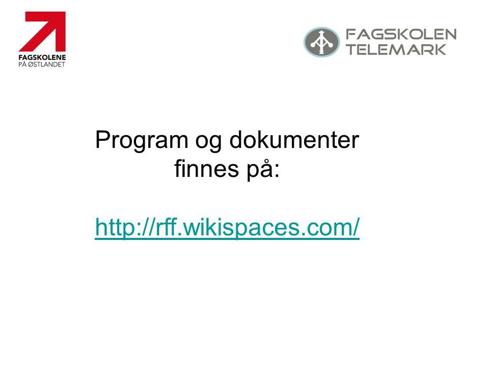Program og dokumenter finnes på: