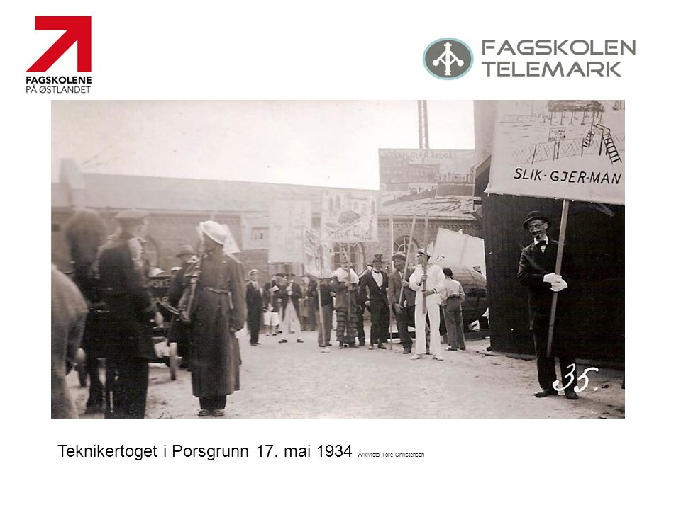 Teknikertoget i Porsgrunn 17. mai 1934 Arkivfoto Tore Christensen