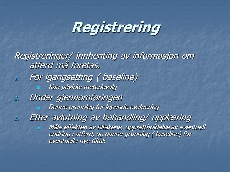 Registrering Registreringer/ innhenting av informasjon om atferd må foretas. Før igangsetting ( baseline)