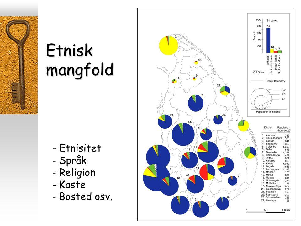 Etnisk mangfold - Etnisitet Språk Religion Kaste Bosted osv.