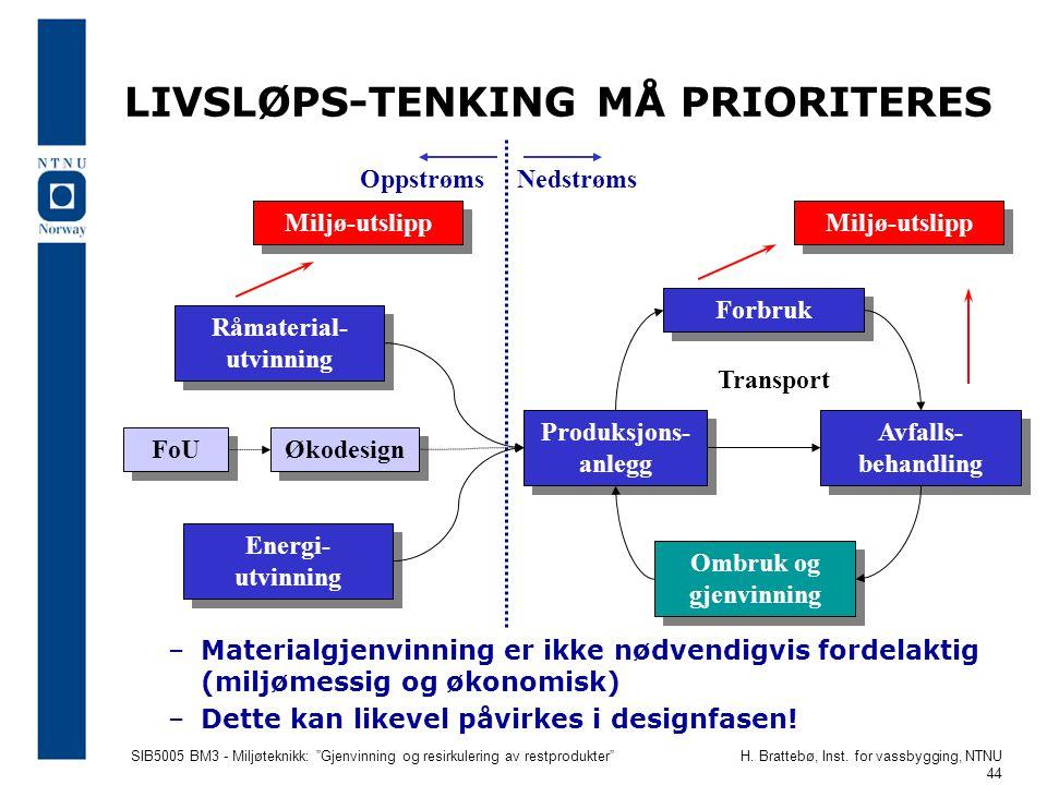 LIVSLØPS-TENKING MÅ PRIORITERES