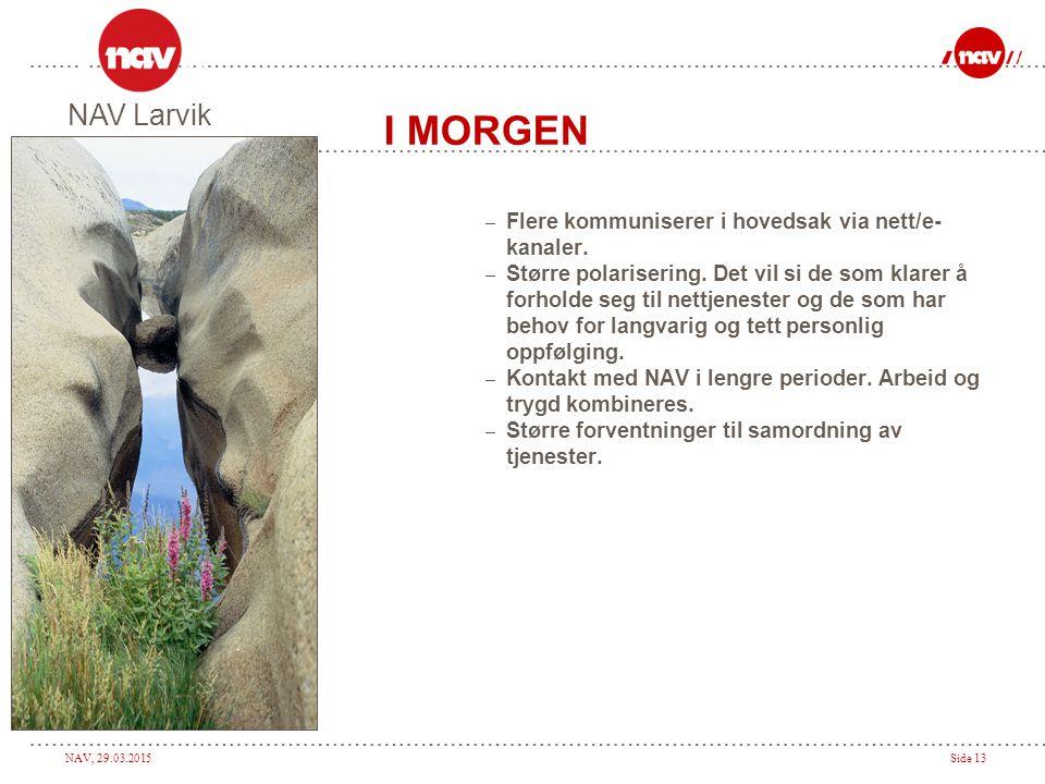 I MORGEN NAV Larvik Flere kommuniserer i hovedsak via nett/e- kanaler.