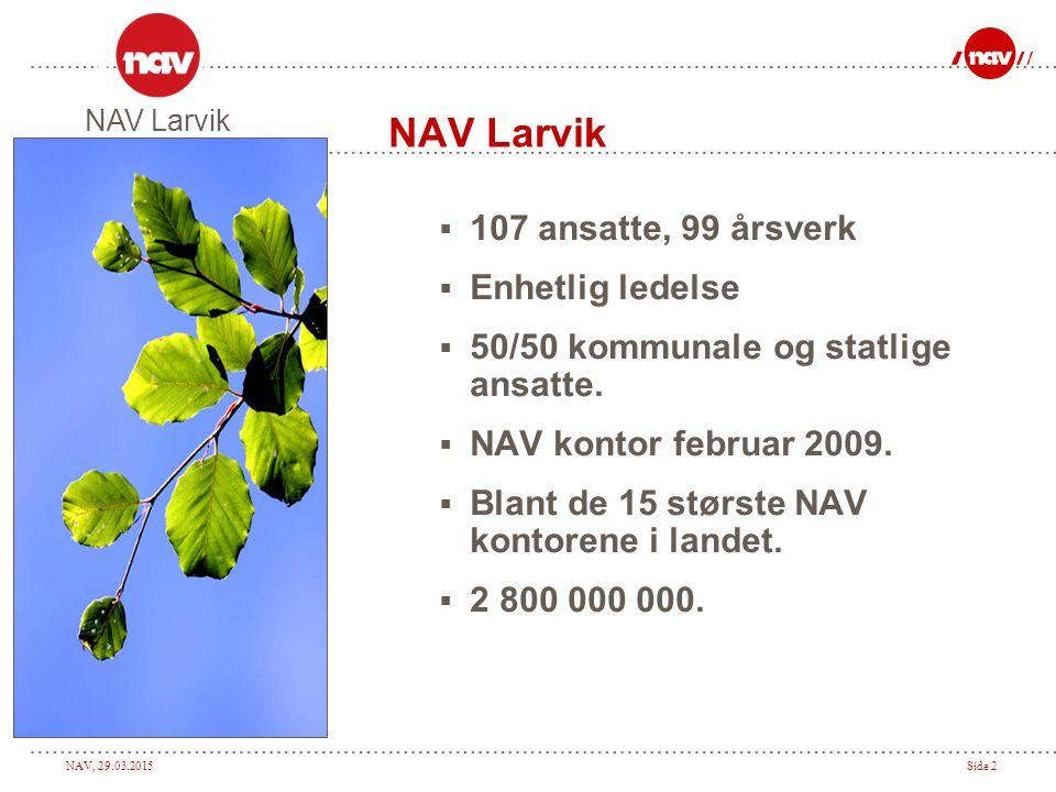 NAV Larvik 107 ansatte, 99 årsverk Enhetlig ledelse