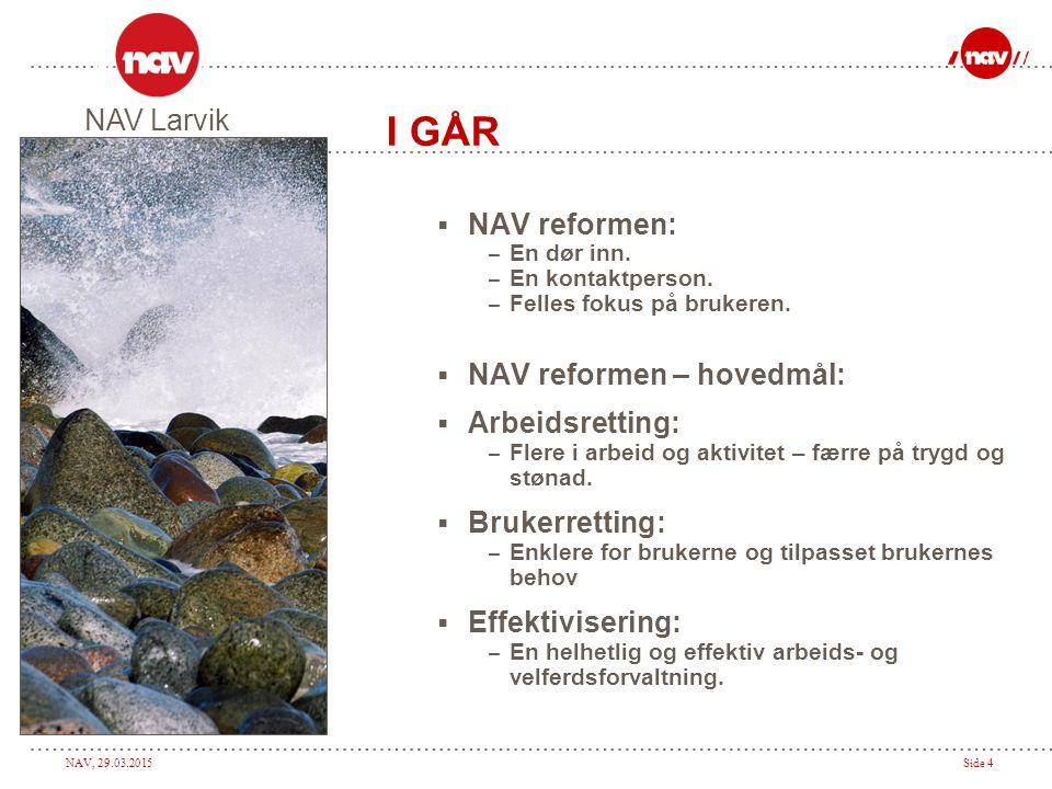 I GÅR NAV Larvik NAV reformen: NAV reformen – hovedmål: