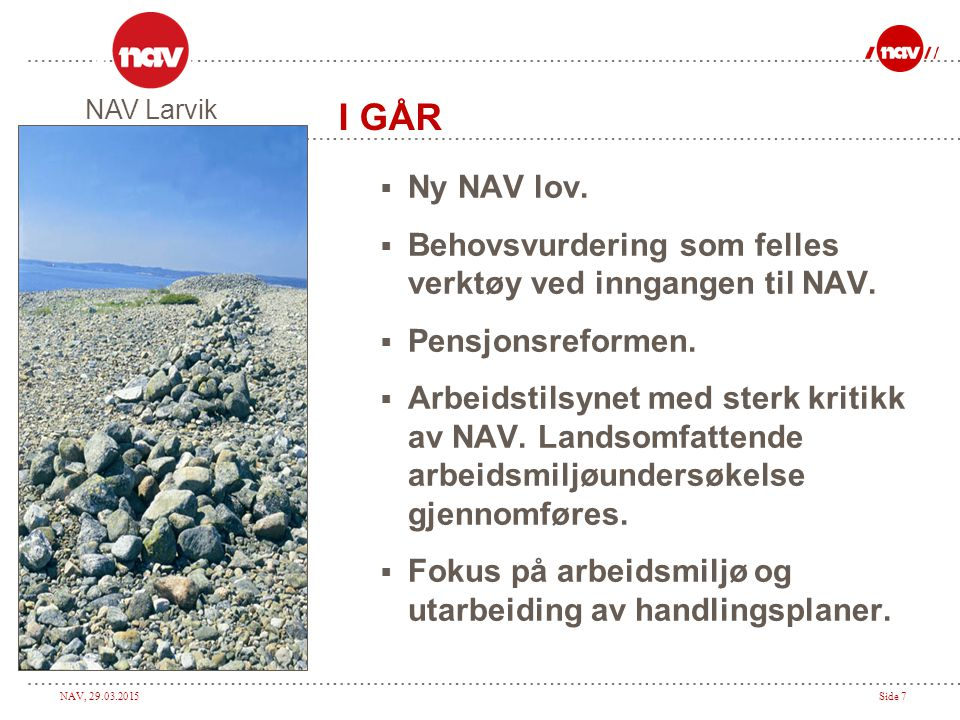 NAV Larvik I GÅR. Ny NAV lov. Behovsvurdering som felles verktøy ved inngangen til NAV. Pensjonsreformen.