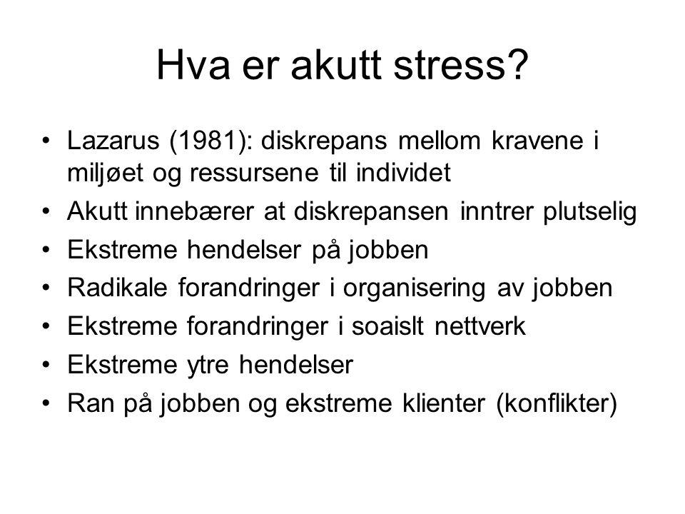 Hva er akutt stress Lazarus (1981): diskrepans mellom kravene i miljøet og ressursene til individet.