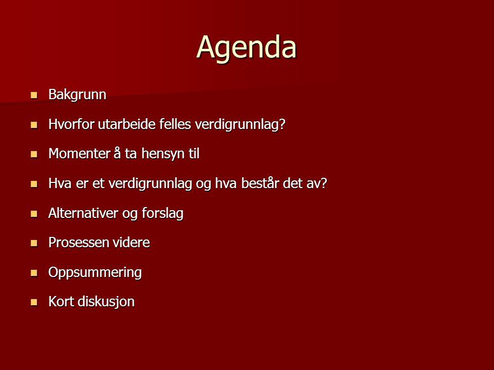 Agenda Bakgrunn Hvorfor utarbeide felles verdigrunnlag