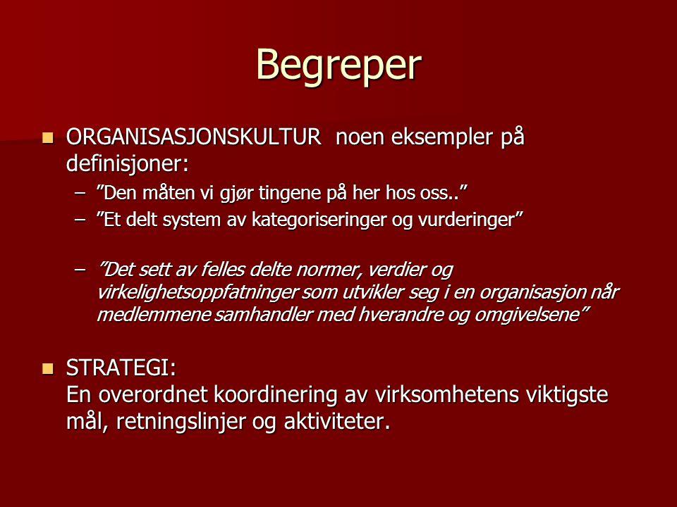 Begreper ORGANISASJONSKULTUR noen eksempler på definisjoner: