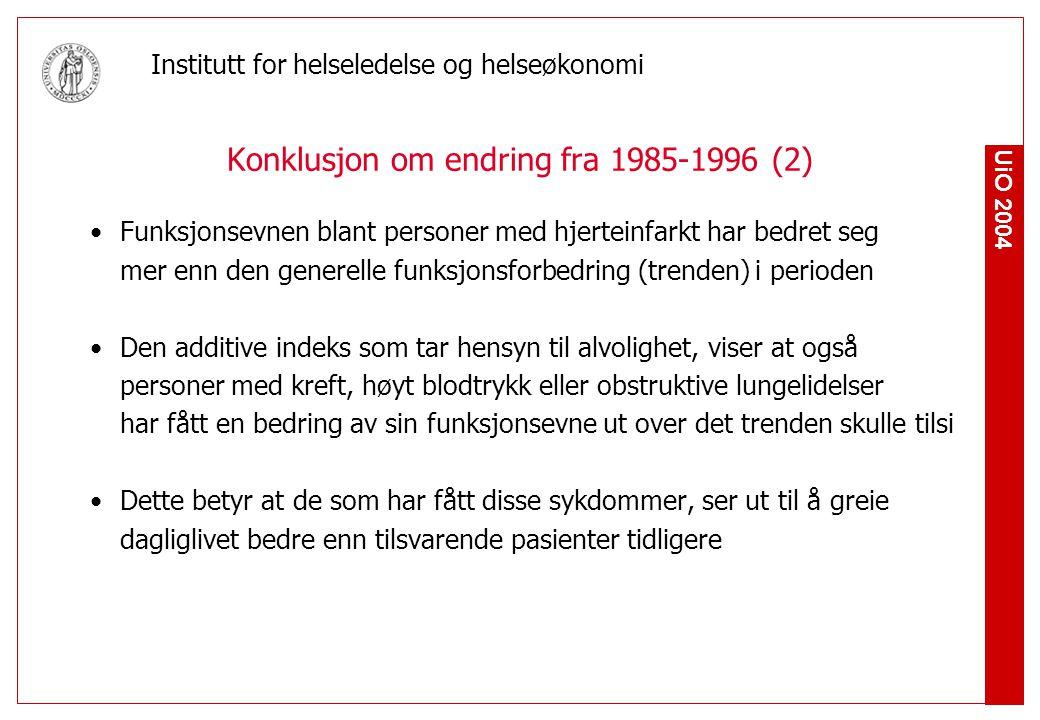 Konklusjon om endring fra 1985-1996 (2)