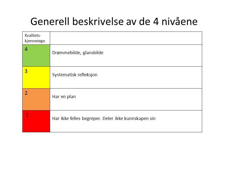 Generell beskrivelse av de 4 nivåene