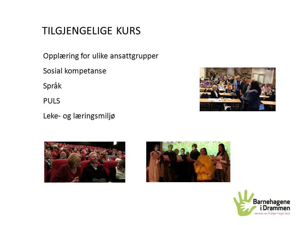 TILGJENGELIGE KURS Opplæring for ulike ansattgrupper Sosial kompetanse