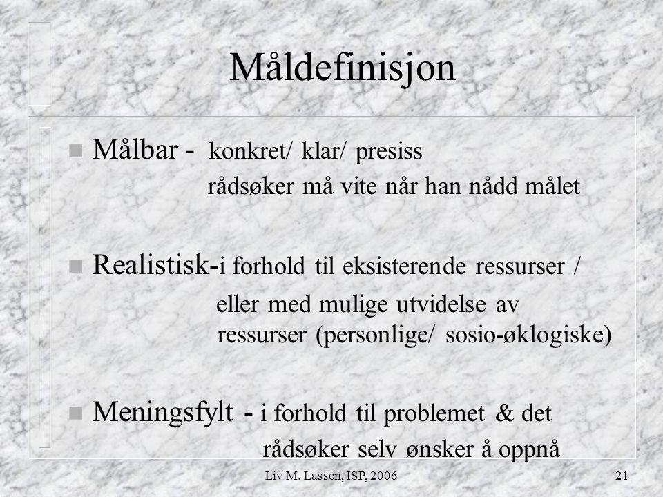 Måldefinisjon Målbar - konkret/ klar/ presiss rådsøker må vite når han nådd målet.