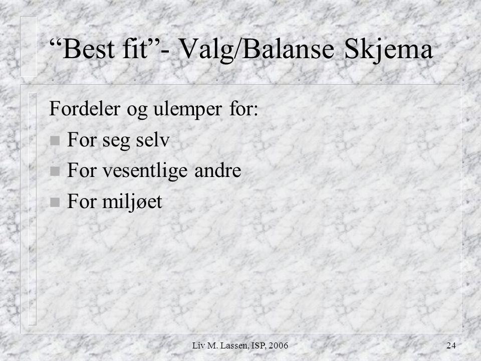 Best fit - Valg/Balanse Skjema