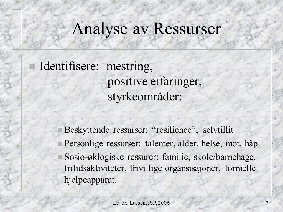 Analyse av Ressurser Identifisere: mestring, positive erfaringer, styrkeområder: