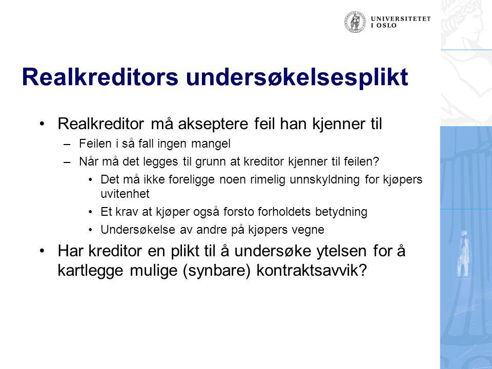 Realkreditors undersøkelsesplikt